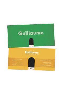 Retro geboortekaartje Guillaume - Voorzijde en achterzijde