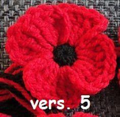 Ravelry: crocheted poppies, 5 versions pattern by Suzanne Resaul Knitted Poppy Free Pattern, Crochet Flower Patterns, Crochet Designs, Knitting Patterns, Crochet Ideas, Crochet Appliques, Knitting Ideas, Knitted Poppies, Knitted Flowers