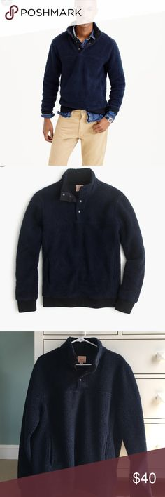 J. Crew Fleece Navy blue fleece with 4 buttons. Size Men's medium. Good condition, only worn a few times! Sooo comfortable! J. Crew Sweaters V-Neck