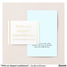 """Shop """"With our deepest condolences"""" Sympathy Card created by AponxDesigns. Paper Envelopes, White Envelopes, Condolences, Colored Paper, Sympathy Cards, Gold Foil, Place Card Holders, Deep, Silver"""