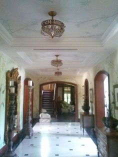Chinioserie entrance hall, with trayed ceilings by Donzine. Foyer, Entryway, Hallway Ideas, Entrance Hall, Stairways, Ceilings, Condo, Tray, Entrance