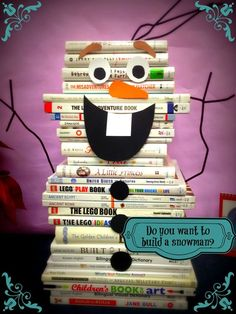 Olaf Book Display - Snowman shaped books, pipe cleaners and card ...