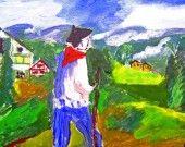 TABLEAU ACRYLIQUE EN PAYS BASQUE : Peintures par kikiartgallery