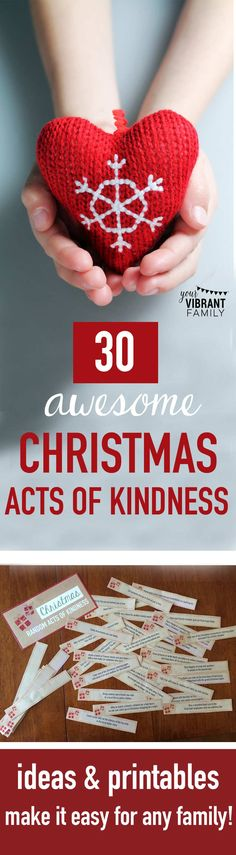 EASY CHRISTMAS ACTS OF KINDNESS ACTIVITIES: You'll love these ideas (and printables!) that make Christmas acts of kindness easy and do-able for even busy families! Love this way to live out our Christian faith, especially during Christmas!