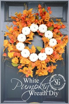 White Pumpkin Fall Wreath-front door- easy and doable in 15 minutes!!! stonegableblog.com
