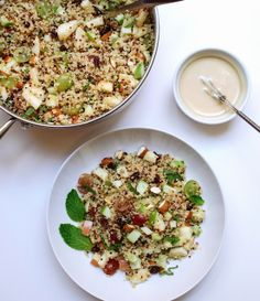 Apple Harvest Quinoa Salad + Sweet Tahini Dressing...A wonderfully fresh fall salad for anytime of day. This would also be great on the Thanksgiving table. Dressing can double as a dip for apples...so good!