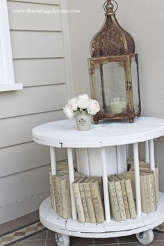 Decorating with old cable spools