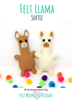 Felt llama softie FREE PATTERN to sew! The stuffed llama pattern includes all the steps you need to add one (or a few) to your collection today! Sewing Projects For Kids, Sewing For Kids, Felt Projects, Animal Sewing Patterns, Felt Patterns, Sewing Stuffed Animals, Stuffed Animal Patterns, Softie Pattern, Free Pattern