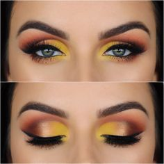 Unique Yellow Eye Makeup - Yellow eye shadow is not an alternative eye makeup, nor is it a basic eye shadow color. But the appropriate use can reflect your unique aesthetic, better clothing taste, improve recognition in the crowd. Makeup With Yellow Dress, Yellow Eye Makeup, Colorful Eye Makeup, Makeup Goals, Makeup Tips, Beauty Makeup, Makeup Products, Make Up Looks, Makeup Inspiration