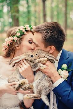 Rabbits at boho wedding