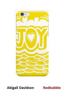 Joy Word Art Yellow and White Phone cases & Skins by Abigail Davidson at Redbubble