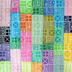 Geometric Hand Printed Quilted Paint Samples Mixed Media Art by laurawennstrom,