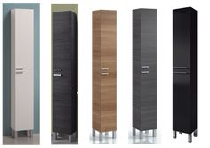 Koncept Tall Narrow Bathroom Cupboard Black Gloss White Furniture Unit Cabinet | eBay