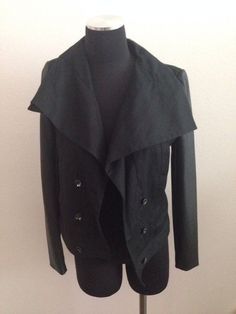 Bcbg Max Azria Cotton And Leather Sleeve Drape Moto Jacket Black XS #BCBGMAXAZRIA #Motorcycle