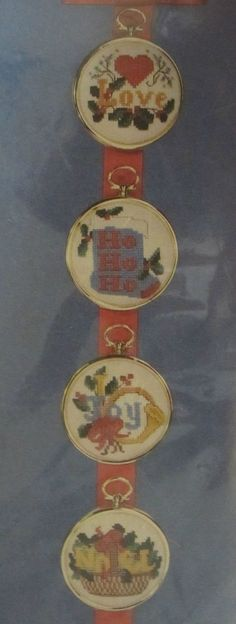 Love/Joy Counted Cross Stitch Ornament Kit 5471 Cathy Makes 4 w Frames Sealed #CathyNeedlecraft #Frame
