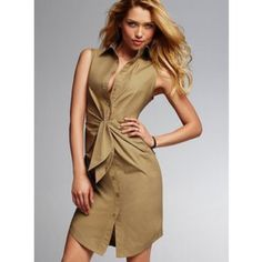 Shirt dress Sleeveless shirt dress in military green. Like new. Victoria's Secret Dresses