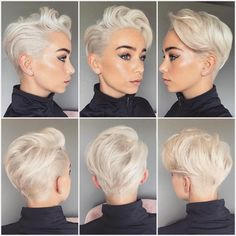 Check out these 12 short haircut ideas for every kind of women; from Stay Glam SHORT SIDES, LONG Latest Short Hairstyles, Short Pixie Haircuts, Trending Hairstyles, Pixie Wedding Hairstyles, Long Pixie Hairstyles, Snow White Hair, Blonde Pixie Cuts, Platinum Blonde Pixie, Blonde Pixie Haircut