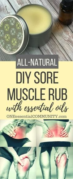 DIY sore muscle rub w/ essential oils --> all natural, deep-penetrating, works quickly, & smells sooooo much better than store bought rubs.