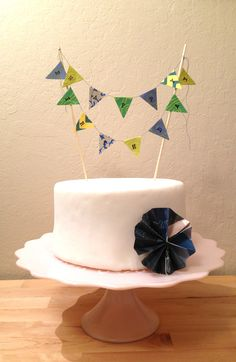 Happy Birthday Paper Cake Banner (In blue/green/yellow). $8.00, via Etsy. Would also be so sweet for baby shower.