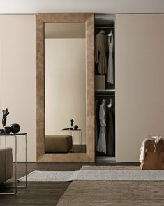 Sectional mirrored wardrobe with sliding doors MIRROR by Presotto Industrie Mobili Bedroom Closet Doors Sliding, Mirror Closet Doors, Mirror Door, Closet Bedroom, Wardrobe With Mirror, Wardrobes With Sliding Doors, White Sliding Door Wardrobe, Mirrored Wardrobe Doors, Hallway Closet
