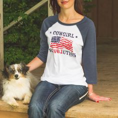 Love the land of the free in this Cowgirl Revolution baseball tee!
