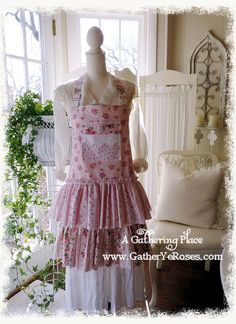 Apron Vintage Rose Tattered Ruffles by AGatheringPlace on Etsy
