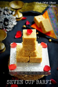 7 CUP BURFI RECIPE / SEVEN CUP BARFI / 7 CUPS SWEET ( CAKE ) RECIPE | Cook With Smile