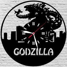 29$ wooden wall clock #Dinosaur, #Godzilla, #Birthdaygiftkids by lovelygift4you