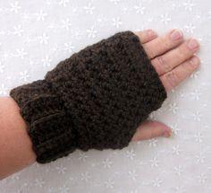 Dark Brown Fingerless Gloves  Womens by ColorMyWorldCrochet