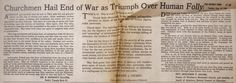 CHURCHMEN HAIL END OF WAR AS TRIUMPH OVER HUMAN FOLLY (August 14, 1945) | Clippings from the DETROIT TIMES Times Newspaper, Victorious, Detroit, Self, War