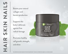 Support for stronger nails, softer and smoother skin, and shine-worthy hair!  With essential vitamins, minerals, and plant-based nutrients, Hair Skin Nails enhances your own natural collagen and keratin production, supports healthy cell growth, and boosts your body's free radical fighting defenses. Click here for our HOTTEST NEW ITEM! http://ruthmcde.myitworks.com/shop/product/322/  $55 retail or $33 as a Loyal Customer