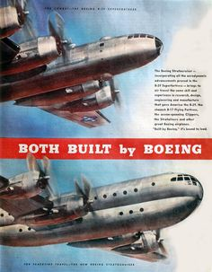 Vintage Airplanes Boeing ad - During WWII, the flight range of the USAF long-distance bombers made huge leaps forward with every new model that came out, mainly due to the rapid Vintage Advertisements, Vintage Ads, Vintage Trends, Vintage Stuff, Passenger Aircraft, Air Festival, History Online, Vintage Airplanes, Aviation Art