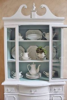 Image result for painted china cabinet
