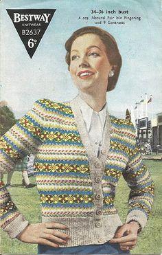 Vintage Ladies Fair Isle knitting patterns available from The Vintage Knitting Lady Fair Isle Knitting Patterns, Fair Isle Pattern, Crochet Patterns, Knitting Ideas, Vintage Knitting, Hand Knitting, Knitting Stiches, Fair Isles, Cardigan Pattern