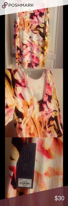 NWT Jennifer Lopez jersey dress Multi floral long sleeve dress. Low back Jennifer Lopez Dresses Mini