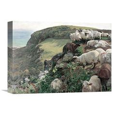 Global Gallery 'Our English Coasts (Strayed Sheep)' by William Holman Hunt Painting Print on Wrapped Canvas Size: