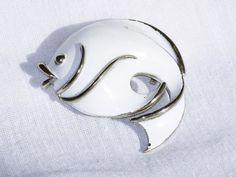 White Enameled Fish BroochPin B34 by delightfullyvintage on Etsy, $12.00