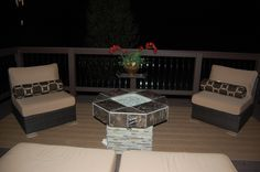 My wonderful outdoor space .....fire table and new deck with roof completed by my amazing Diy'er husband!