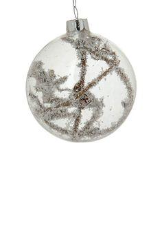 Xmas white ball. Διακοσμητική μπάλα Χριστουγέννων, 8 cm (L155095). Christmas ornaments