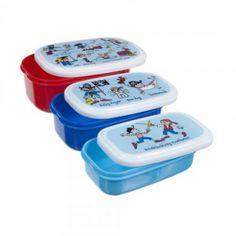 3 boites à goûter ou déjeuner Pour le déjeuner ou le goûter à l'école, à la crèche, chez la nounou. Motif pirates. Sans BPA. Couvercles hermétiques. 3 Boites gigognes. Pratiques, elles passent du congélateur au micro-onde et au lave-vaisselle ! Grande boite : 14 x 9.5 x 5.5 cm. Boite moyenne : 12.8 x 8.2 x 4.5 cm. Petite boite : 11.6 x 6.8 x 3.5cm…