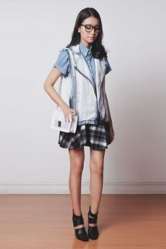 Her Spot Skirt, Mgp Top, Mango Vest, Emoda Bag, Choies Shoes