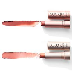 Our barely-there pair: Sugar Lip Treatments in Honey and Nude.