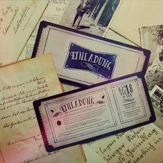Ladet eure Gäste mit unserer authentischen Vintagekarte zu eurer Feier ein.