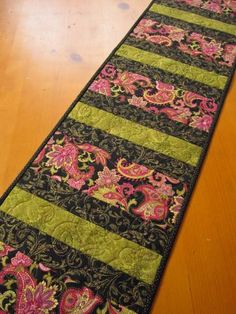 Handmade Table Runner Quilted Striped Paisley by PatchworkMountain for $34.00