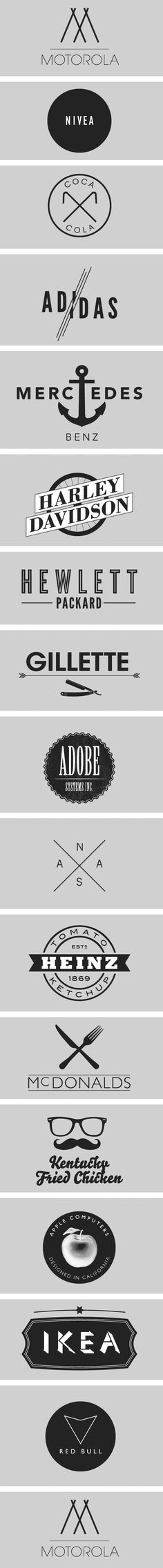 Beautiful Logos. There's something about the simplicity of the design elements, and the impact of their significance as the face and personality of their brands. Plus I'm loving this playful twist on these known brands.