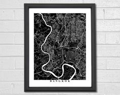FREE SHIPPING ON ALL ORDERS IN THE USA!  Beautiful black & white print of Bangkok Streets. The vast network of winding roads provides for a stunning design that will fit any decor. These maps also make perfect gifts.  ======================================================  Please select size and color from the drop-down boxes. If you would like to change the text at the bottom of the map or leave it blank please specify in the checkout notes. If you would like no borders and the map to take…