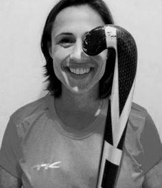 Olympic champion Tina Bachmann is smiling with her TK stick. #TeamTK #TKhockey #TinaBachmann #fieldhockey #sticks #fun