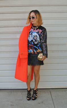 Vintage Saks Coat, DIY Sweater, Fringe Skirt