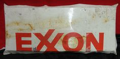 Old Exxon Metal Sign Gas Pump Ad, Gas Station Authentic
