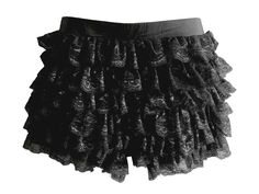 Tiered Lace Bloomers: Shorts feature a slightly stretchy waistband, tiered lace fabric running down both sides, and flared shorts beneath to finish.